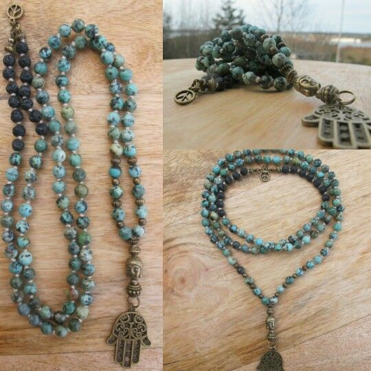 African Turquoise with Hamsa and peace sign i the neck. Malabead necklace.