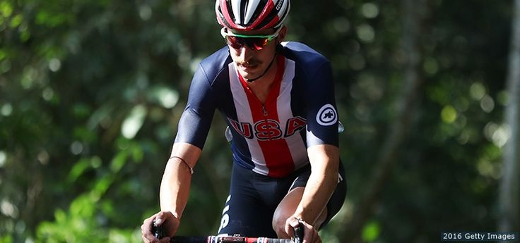Taylor Phinney rides during the men's road race at the Rio 2016 Olympic Games at Fort Copacabana on Aug. 6, 2016 in Rio de Janeiro.