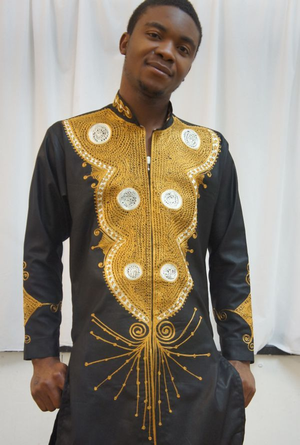 Nigerian Brocade With Nigerian Style Contrast Embroidery For Men Brocade Is A Cotton Fabric
