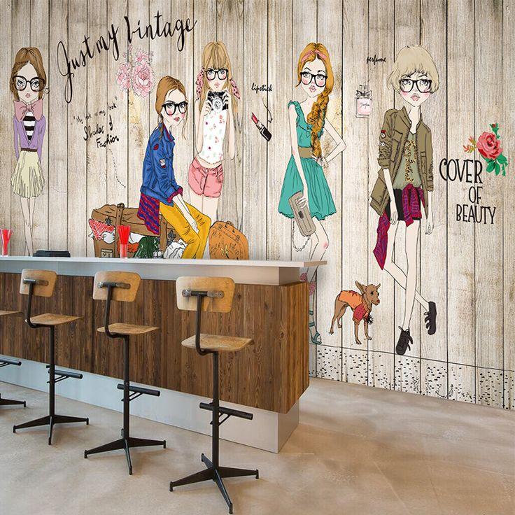 Spedizione gratuita in legno massello di mattoni bianchi fashion girl wallpaper…
