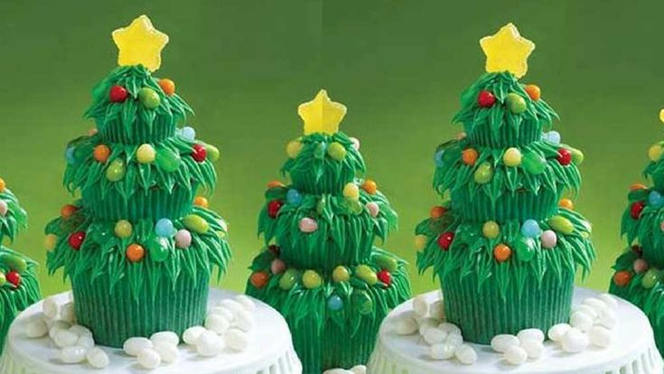 Jelly Belly Christmas tree cupcake decorations