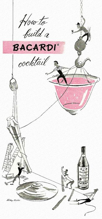 rogerwilkerson:    How to build a Bacardi… detail from 1947 Bacardi Rum ad