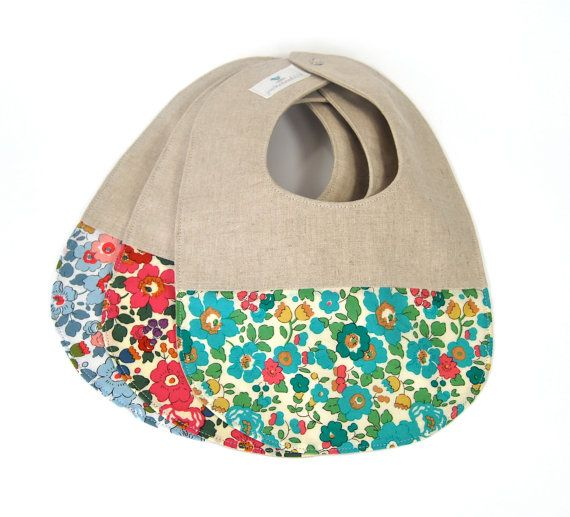 NO PEAS OR CARROTS PLEASE--these bibs are meant for special occasions! Made from natural essex 55% linen/45% cotton blend fabric and tipped with