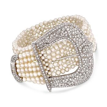 Diamond and Cultured Pearl Buckle Bracelet In 18kt White Gold.