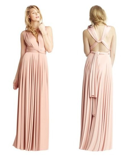 Shop! Lady Gaga's blush pink Two Birds bridesmaid dress. Can be worn over 15 ways to suit all your bridesmaids. www.handbag.com