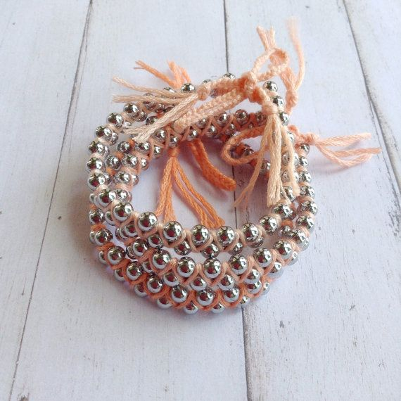 Set of 3 Bohemian Ombre Woven Metal Bracelet