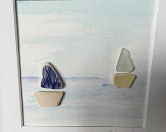 Fair weather -Reserved for Jean - Scottish sea glass and pottery boats picture - sea art - sailing boats - holiday memories - beach days.