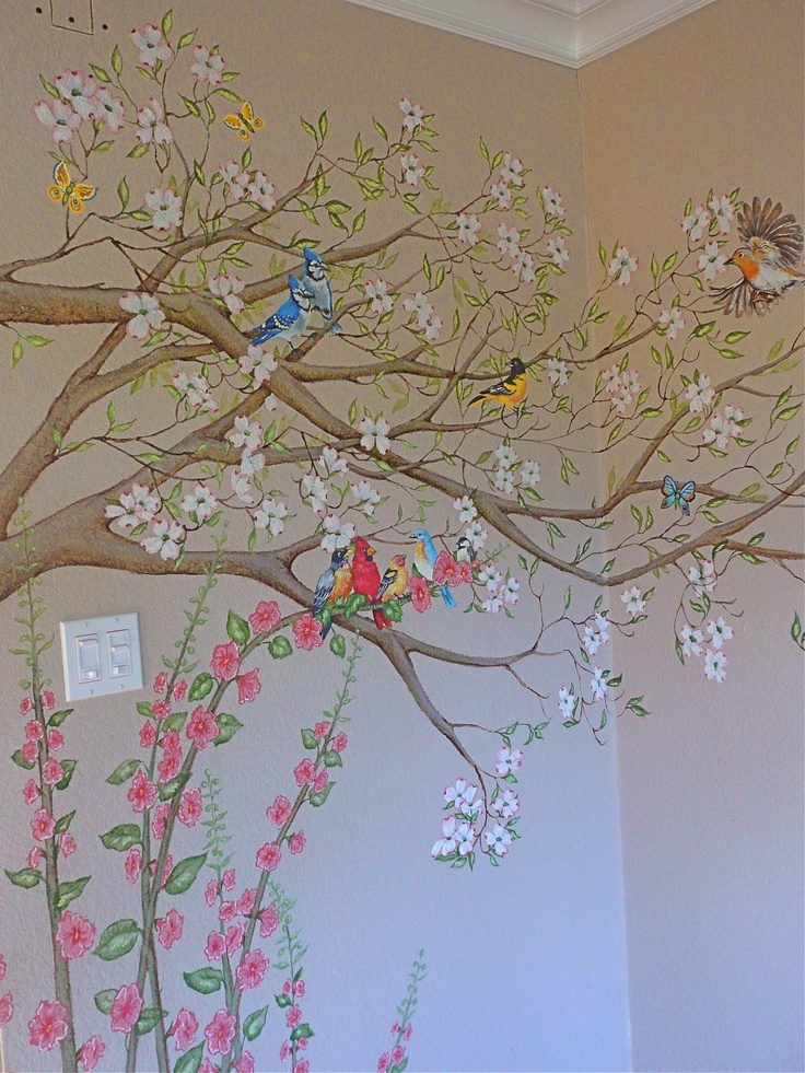 Dogwood tree mural, with birds