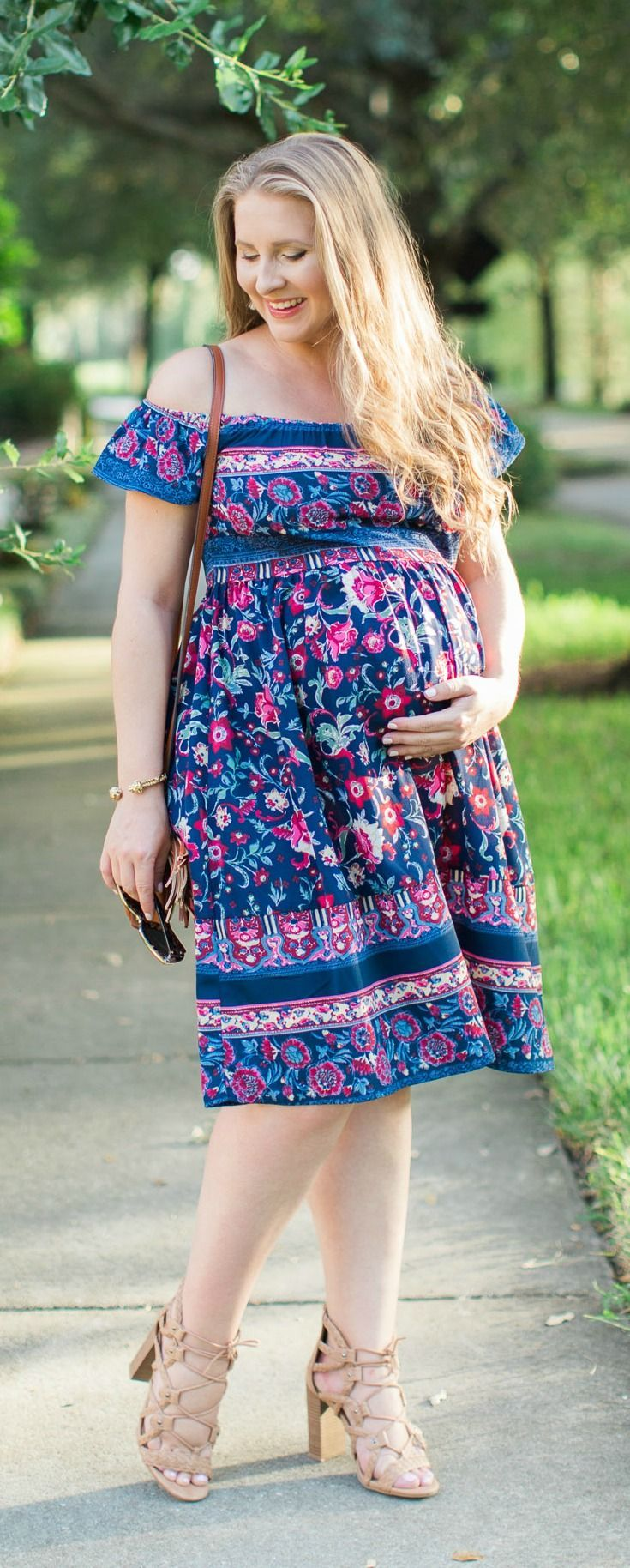 Cute off the shoulder maternity dress under $30 + How to use dry shampoo with my favorite dry shampoo from Cibu for Hair at Hair Cuttery  + a 20% coupon code for Cibu! #MyHCLook #TakeCibuHome sponsored by Hair Cuttery | easy hair tutorial by Orlando, Florida beauty blogger Ashley Brooke Nicholas, cute maternity outfit, affordable maternity style, maternity fashion, 8 months pregnant, 34 weeks outfit idea