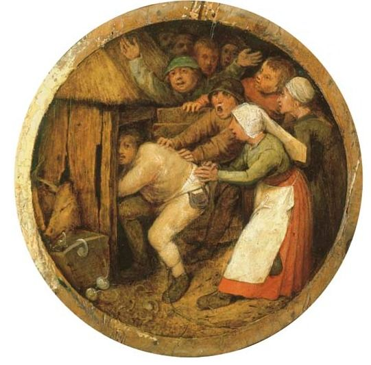 Pieter Breugel de Oude Drunkard pushed into the Pigsty