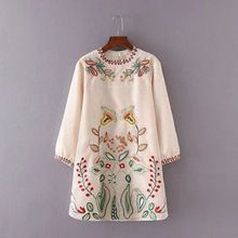 Vintage Etnik Organze Nakış Çiçek Çizgili Desen Düz Elbise Rahat Gevşek O-Boyun Uzun Kollu Trendy Kadınlar Mini Elbise(China (Mainland))