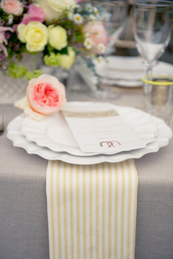a dash of yellow striped napkins does a tablescape good  Photography by photography-and-more.com, Planning by staciesheaevents.com, Floral Design by cecilyfgrand.com