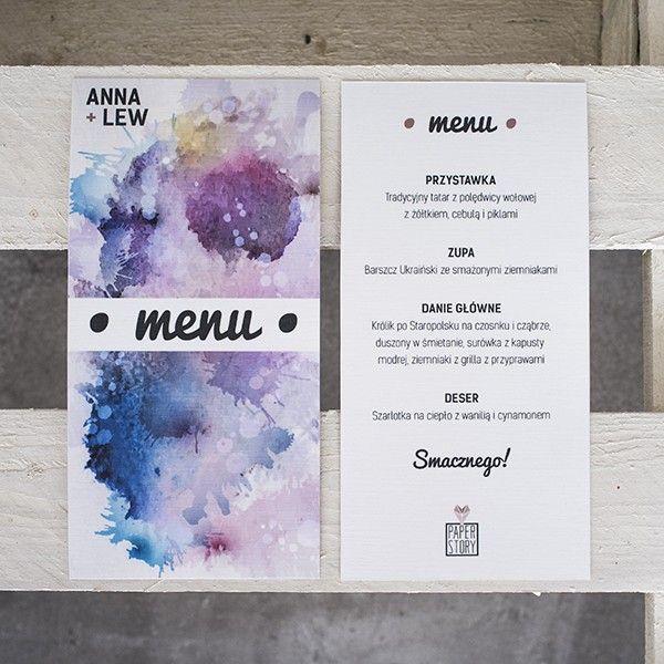 original, creative and colorful wedding menu for your guests // akwarelowe menu ślubne dla Twoich gości // http://paperstory.pl/menu/15-akwarelove-menu.html
