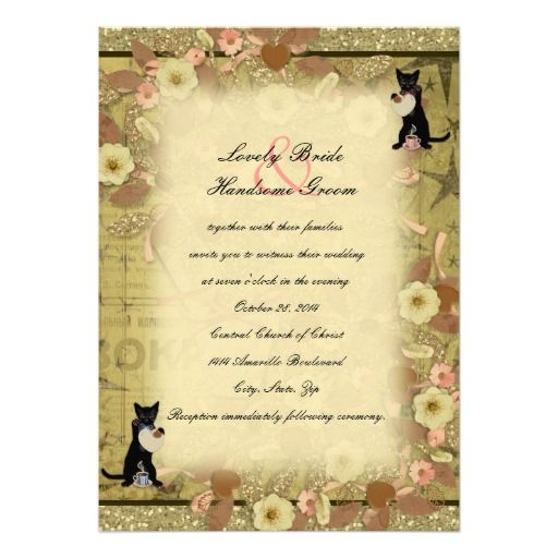 Cat Coffee Collage Style Wedding Invitation