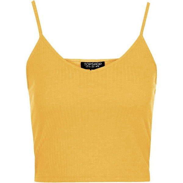 TOPSHOP Ribbed Cropped Cami (12 CAD) ❤ liked on Polyvore featuring tops, crop tops, shirts, yellow, mustard, singlet, yellow tank top, fish tank, henley shirt and camisoles & tank tops