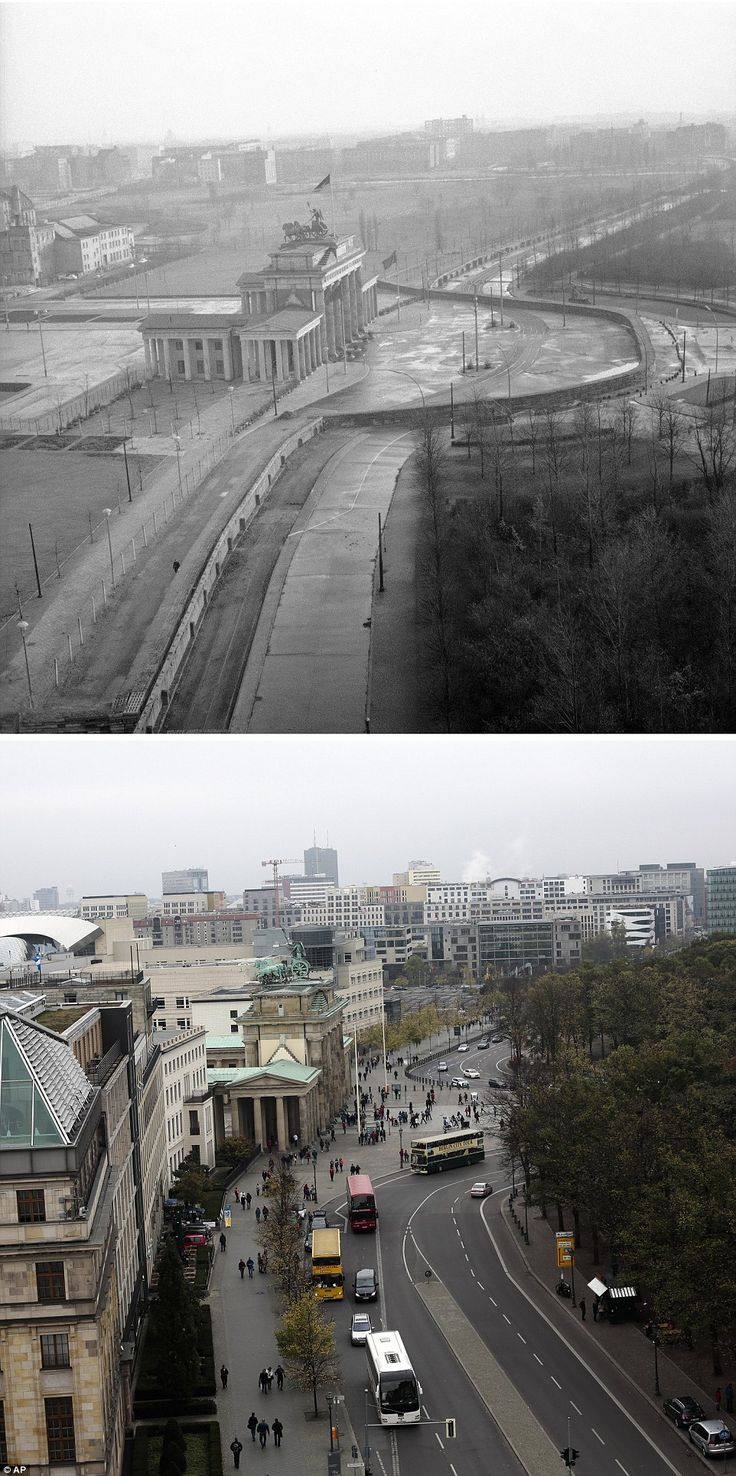 Bustling: The Berlin Wall was built by East Germany in 1961, and the top image shows the wall around the Brandenburg Gate on Nov 19, 1961. Today the same area is filled with cars, buses and people moving freely around the German capital
