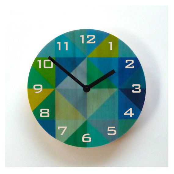 Objectify Blue/Green Grid Wall Clock with Numerals