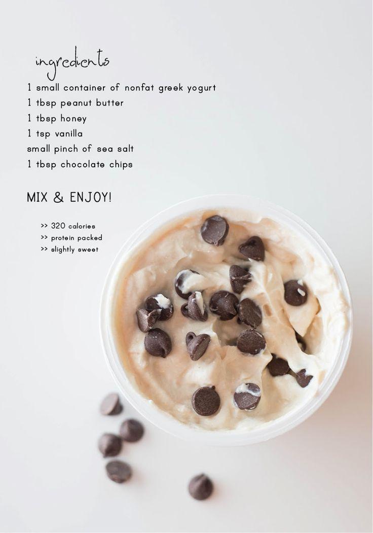 """Cookie Dough"" Greek Yogurt (S)  *Use stevia and chopped skinny chocolate or chocolate nut slab"