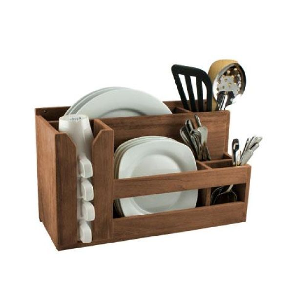 Teak Dish, Cup and Utensil Rack