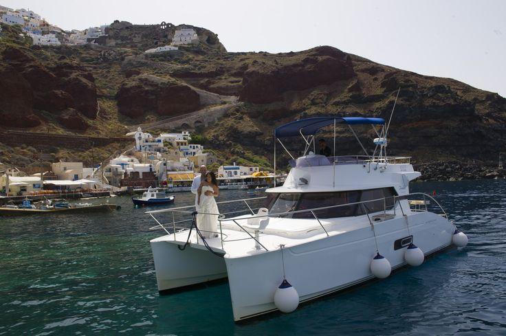 On-board after wedding photoshoot - Santorini