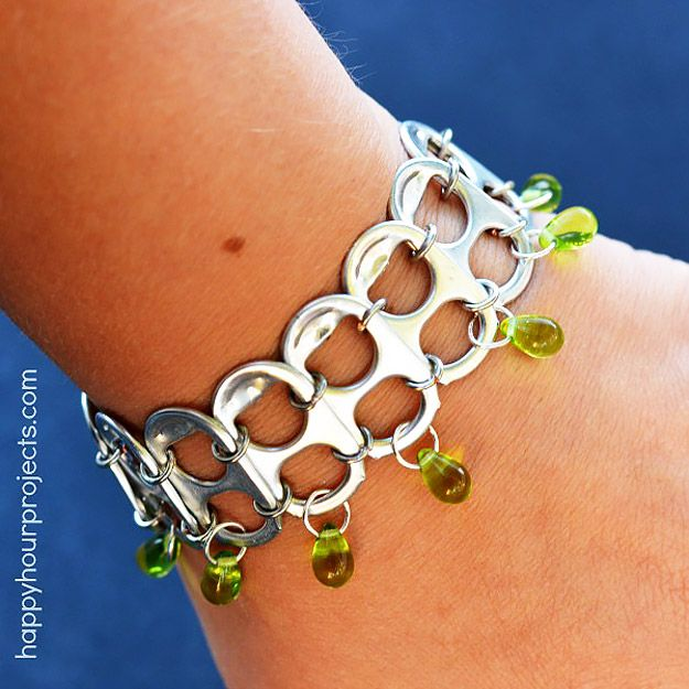 Cool DIY Ideas for Fun and Easy Crafts - DIY Soda Pop Tab Bracelet- Fun DIY Fashion Idea for Teens and Adults Makes a Cool Handmade Gift Idea Awesome Pinterest DIYs that Are Not Impossible To Make - Creative Do It Yourself Craft Projects for Adults, Teens and Tweens. http://diyprojectsforteens.com/fun-crafts-pinterest
