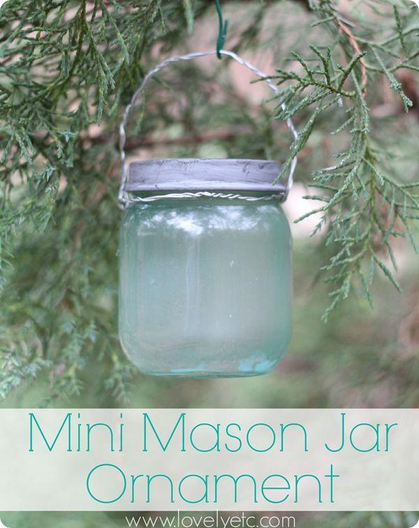 Make this adorable little blue mason jar ornament with a regular baby food jar!