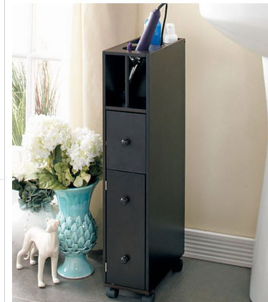 Bathroom Storage Cabinet Slim 3 Drawer Tall Shelf