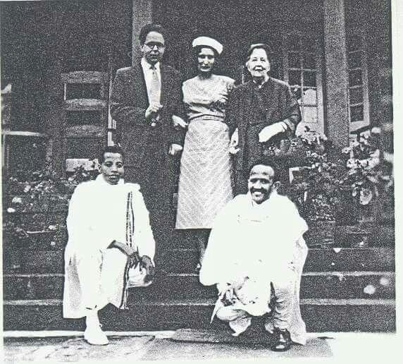 Ethiopia:- Historical Photo Professor Richard Pankhurst; Rita Pankhurst; Sylvia Pankhurst; Maitre Artist Afewerk Tekle; Mengistu Lemma in London,1940s.