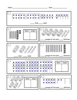 First grade math counting tens and ones worksheets