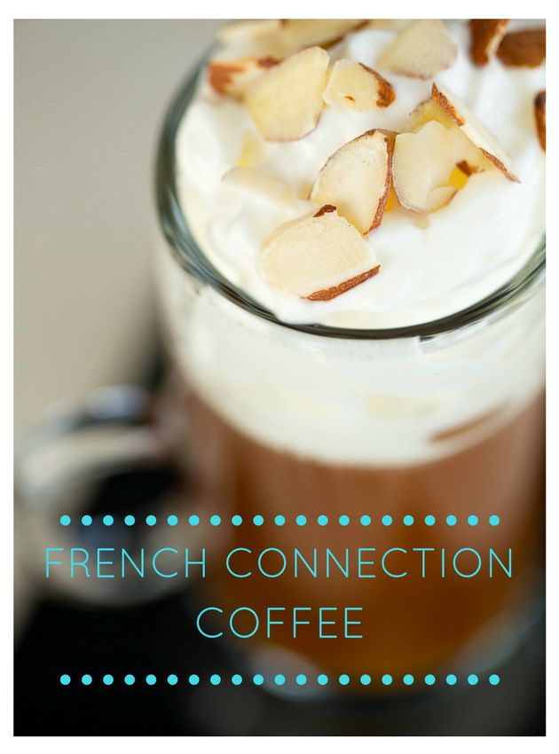 French Connection Coffee - black coffee spiked with brandy, amaretto and topped with slivered almonds and whipped cream! | The Drink Kings |