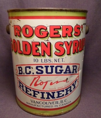 Vintage Vancouver B.C. Canada Roger's Golden Syrup Advertising 10 Lbs. Tin