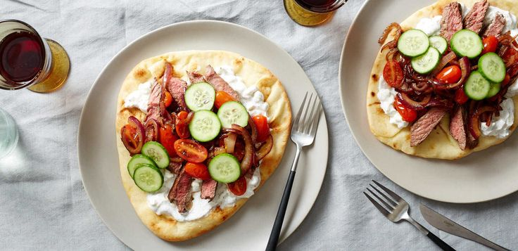 Lamb gyros with yogurt feta sauce