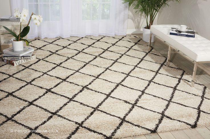 NEW: Brisbane Ivory Charcoal Rug, a monochrome modern shaggy rug, machine-woven from soft polypropylene yarn (2 sizes) http://www.therugswarehouse.co.uk/shaggy-rugs/brisbane-rugs/brisbane-ivory-charcoal-rug.html