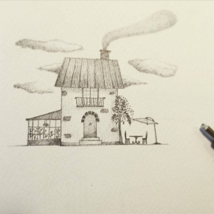 Little house with a greenhouse, illustration by Valeria Frustaci #graphite #house #greenhouse #illustration #childrensillustration #fabercastell #valeriafrustaciillustration