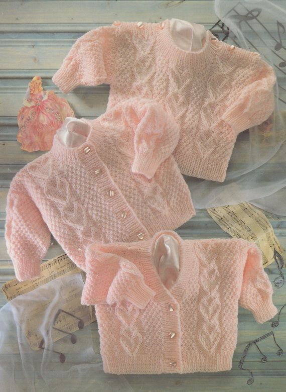 PDF knitting pattern for dk cardigans and jumper baby to toddler child 16-22 inches heart pattern