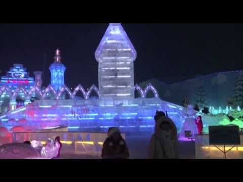 Raw: Ice Festival Dazzles in Light