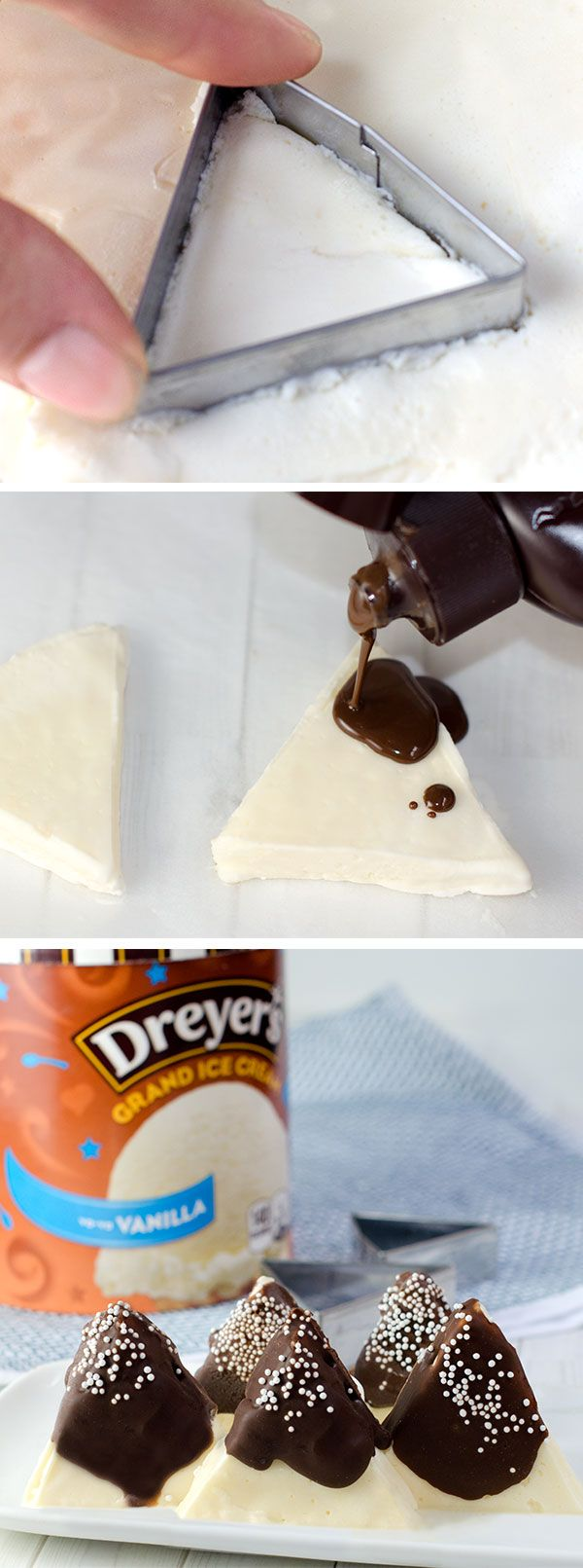 "Dreyer's Snowy Mountain Bars: Take dessert time to tasty new heights with these chocolatey, winter-inspired treats! Start by flattening Dreyer's Vanilla ice cream onto parchment paper and refreeze. Then, cut out triangle ""mountains"" with a cookie cutter, cover with a layer of chocolate shell and add sprinkle ""snow"" for the finishing touch!"