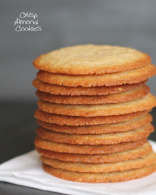 Crisp Almond Cookies - thin crisp cookies with lots of almond flavour - via this blog, Chocolate, Chocolate and More.