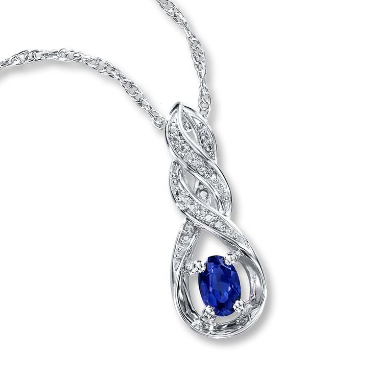 sapphire necklace with diamond sterling silver