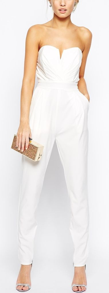 Tailored Jumpsuit with Waistband White Strapless Jumper #UNIQUE_WOMENS_FASHION