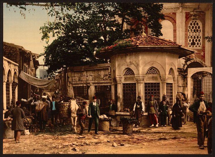 A Street at Stamboul with Fountain, Constantinople, Turkey. Between 1890 and 1900.(Molla Fenari Mahallesi Bileyciler sokak, Çemberlitaş Çarşıkapı arası)