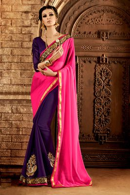 Pink , purple embroidered polyester saree with blouse