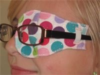 Our daughter Madison wearing her eye patch for the treatment of lazy eye, amblyopia