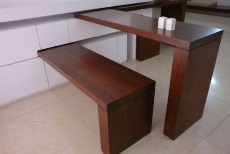 Pivoting Table/Bench/Counter Top For Small Spaces.....It slides away into the wall.....brilliant.
