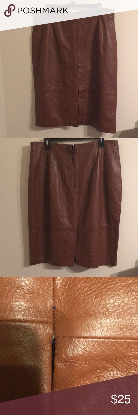 """Genuine leather skirt Vintage Genuine tan leather skirt. Waist has been taken in a little. Length is 25.5"""". Slit is 8"""". Some minor hem work needed on one side of the slits. Barely noticeable but easily fixed. Size 20 open to reasonable offers but no trades. Skirts Pencil"""