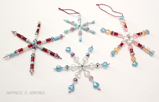 Kids Christmas Craft: Easy Beaded Snowflake Ornaments - Happiness is Homemade