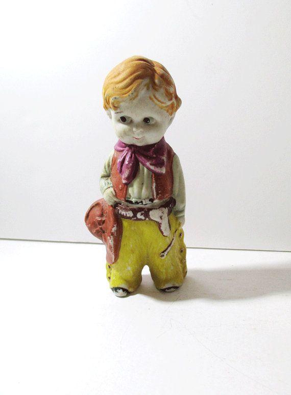 Vintage Cowboy Child Bisque Figurine Made In Japan