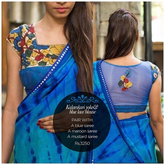 A super interesting blouse this! With a Kalmakari yoke & blue cotton lace body. And a subtly sheer net appliqued back to keep you ever so stylish. Get yourself a similar one in our READY TO SHOP section OR customise your perfect blouse here: www.houseofblouse.com #houseofblousedotcom #blouse #blue #lace #kalamkari #yoke #cotton #net #sheer #applique #back #love #readytoshop