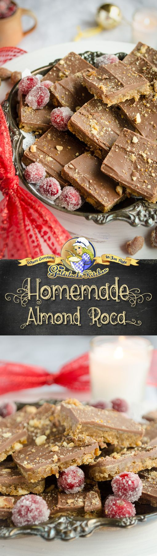 Be sure to add this Homemade Almond Roca dessert recipe to your holiday treat list. Once you see how easy they are to make, they'll become an annual tradition for beautiful and delicious little gifts.