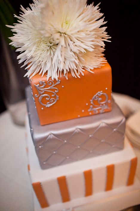 Orange and Silver wedding cake by Gimme Some Sugar LV, Coordinated by Green Orchid Events